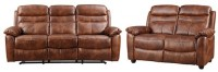HomeTown Logan Nappa Aire Recliner Three Seater + Two Seater in Brown Finish Leather 3 + 2 Brown Sofa Set