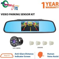 myTVS Video Reverse Parking Sensor,Digital Rear View Mirror and Camera with Nearest Object Distance Voice Alert(1 Yr Warranty) White LED(10.9 cm)