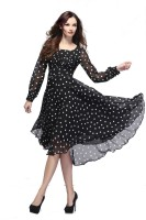 Crease & Clips Women Fit and Flare Black Dress