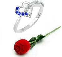 Vighnaharta Blue Stone Heart Ring with Rose Ring Box for Women and Girls Alloy, Brass Cubic Zirconia Platinum Plated Ring