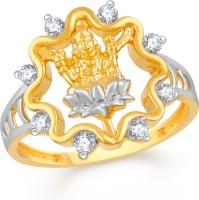 Divastri Lotus Lakshmi Devi Brass, Alloy Cubic Zirconia Gold-plated Plated Ring