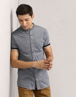 Metronaut Men's Self Design Casual Blue Shirt