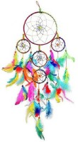 Kraft Village Wall Hanging Round Multi-color Dream Catcher for Attract Positive Dreams Protect Sleeping People Children From Bad Dreams and Nightmares Decorative Showpiece  -  55 cm(Feather, Multicolor)