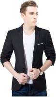 One Click Solid Single Breasted Wedding Men Blazer(Black)