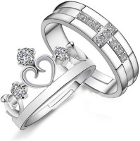 UC Jewelry Metal Cubic Zirconia Rhodium Plated Ring Set