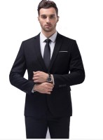 One Click Solid Single Breasted Formal Men Blazer(Black)