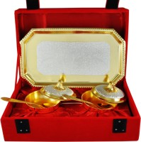 Raj Laxmi RajLaxmi Gold And Silver Plated Lovely Bowl Tray Set Bowl Spoon Tray Serving Set(Pack of 5)