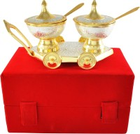 Shreeng Gold And Silver Plated 2 Bowl Set Brass Decorative Platter(Gold, Silver, Pack of 3)