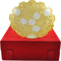 Raj Laxmi RajLaxmi Beautiful Silver And Gold Plated Bowl Bowl Spoon Tray Serving Set(Pack of 1)