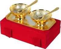 Shreeng Gold and Silver Plated Round Shaped Bowl With Spoon And Tray Set Of 5 Pcs. Brass Decorative Platter(Gold, Silver, Pack of 5)
