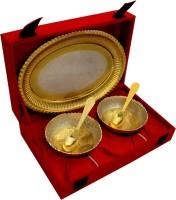 Raj Laxmi GS 2 Tone Round Shape 2 Bowl & Trey with 2 Spoons Bowl Spoon Tray Serving Set(Pack of 5)