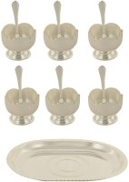 ARYA SILVER PLATED Dessert Bowl Set of 13 With One Year Warranty Against Blackening & Damage Tray, Bowl, Spoon Serving Set(Pack of 13)