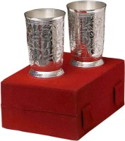 Shreeng Silver Plated Brass Water Glasses Set Of 2 Pcs Brass Decorative Platter(Silver)