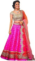 Zinariya Fab Embroidered Semi Stitched Lehenga, Choli and Dupatta Set(Pink, Red)
