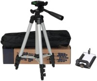 lifemusic Tripod-3110 Portable Adjustable Tripod with Mobile Holder Mount Aluminum Lightweight Camera Stand Mobile Stand Selfie Stand With Three-Dimensional Head & Quick Release Plate For Canon Nikon Sony Cameras Camcorders Tripod(Silver & Black, Supports Up to 1500 g)