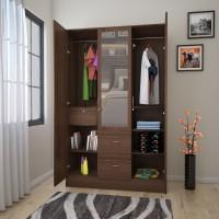 Flipkart Perfect Homes Andes Engineered Wood 3 Door Wardrobe(Finish Color - Walnut, Mirror Included)