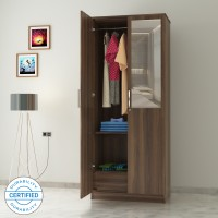 Flipkart Perfect Homes Julian Engineered Wood 2 Door Wardrobe(Finish Color - Walnut, Mirror Included)