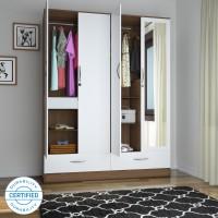 Flipkart Perfect Homes Andes Engineered Wood 4 Door Wardrobe(Finish Color - Walnut, Mirror Included)