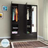 Flipkart Perfect Homes Andes Engineered Wood 4 Door Wardrobe(Finish Color - Wenge, Mirror Included)
