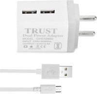 Trust 2.8A. Dual Port Fast Charger with Charge & Sync Micro USB (1 Mtr) Cable 2.8 A Multiport Mobile Charger with Detachable Cable(White, Grey, Cable Included)