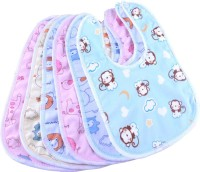 My New Born Fast Dry-Waterproof, Super Soft Cotton Daily Use, Elegant and Stylish Velcro bibs for baby boy and baby girl-Pack of 6(Multicolor)