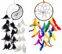 Ryme Combo of Yin Yang Dream Catcher & Multi Dream Cather Attract Positive Dreams Decorative Showpiece  -  15 cm(Feather, Multicolor)