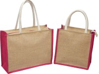 AGGDA **COMBO**Pack of 2**Meduim & Small**AGGDA Plain Jute Burlap Eco-Friendly Medium Size working office bag Lunch Tiffin Multipurpose shopping vegetables Grocery box files for office with Zip with inside Pocket with lunch bag Waterproof Lunch Bag(Pink, 15 L)