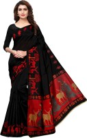 Saara Animal Print, Printed Fashion Art Silk Saree(Black, Red, Multicolor)