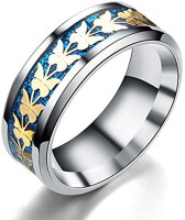 Divastri Stainless Steel, Fabric Silver Plated Ring
