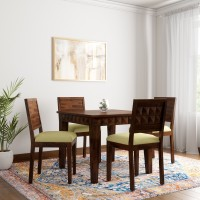 Induscraft Diamond Upholstery Sheesham Solid Wood 4 Seater Dining Set(Finish Color - Brown)