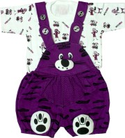 SAS Dungaree For Boys & Girls Casual Printed Cotton Blend(Purple, Pack of 1)