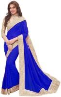 Online Bazaar Embroidered Fashion Faux Georgette, Chiffon Saree(Blue)