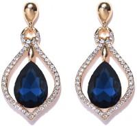 Crunchy Fashion Missa Deft Blue Crystal Earrings for Women Crystal Alloy, Crystal Dangle Earring