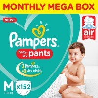 Pampers Pants Diapers Monthly Box Pack New - M(152 Pieces)