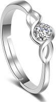 Divastri Alloy Crystal Silver Plated Ring