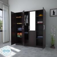 Flipkart Perfect Homes Julian Engineered Wood 4 Door Wardrobe(Finish Color - Wenge, Mirror Included)