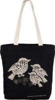Allforasmile Cotton Canvas Reusable Ecofriendly Tote Bag | Animal Collection Sparrow | Original Art Multipurpose Bag(Black, 5 L)