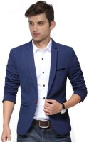 One Click Solid Single Breasted Party Men Blazer(Blue)