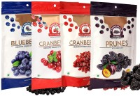 Wonderland Whole & Sliced Cranberries, Blueberries & Prunes Dried Fruits Combo Pack of 4 (750g) Blueberry, Cranberries, Prunes(4 x 187.5 g)
