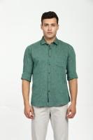CAVALLO by Linen Club Men's Self Design Casual Green Shirt