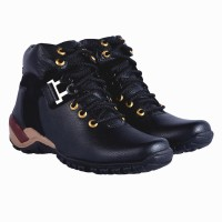 DLS black casual party wear boots shoes for men's Boots For Men(Black)