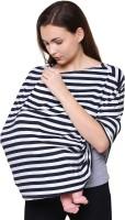 Feather Hug 360° Nursing Cover for Breastfeeding mother, women, Mom, Multi Use, Feeding Cloak,Poncho, scarf, ups, Wrap, Breathable, Canopy, Babysitting, Maternity, Kurti, Shawl, Apron, Poplin ( Signature Black Stripes) Feeding Cloak(Black White)