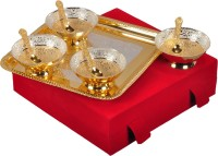 Shreeng Gold and Silver Plated Round Shaped Bowl With Spoon And Tray Set Of 9 Pcs. Brass Decorative Platter(Gold, Silver, Pack of 9)