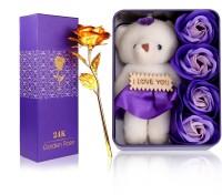 HOMOKART LOVE PACKET WITH GOLDEN ROSE BEST GIFT TO GIFT FOR GIRLFRIEND Showpiece, Artificial Flower Gift Set