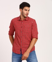 CAVALLO by Linen Club Men Checkered Casual Maroon Shirt
