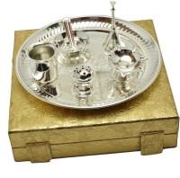 Adiidev Silver Plated Laxmi Ganesh Diwali Pooja Thali Set Brass(7 Pieces, Silver)