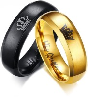 Divastri His or Hers Matching Set His Queen Her King Titanium Stainless Steel Couple Metal Titanium Plated Ring