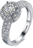 Divastri A5 Grade Crystal 'Royal Queen' 925 Sterling Silver Plated Ring Metal Rhodium Plated Ring