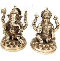Athizay Laxmi Ganesh Murti brass idols Medium size 9 cm tall Antique gold texture n Finish Decorative Showpiece  -  9 cm(Brass, Gold)