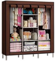 Continental 6 + 2 Shelves 3 Door 88130 Brown PP Collapsible Wardrobe(Finish Color - Brown)